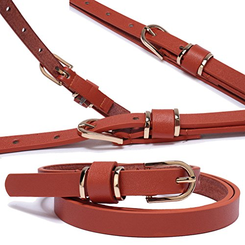 Set of 5 Women's Skinny Leather Belt Solid Color Waist or Hips Ornament 10 Sizes (34-36, Set of 5 belts 1/2 wide) by beltox fine (Image #3)