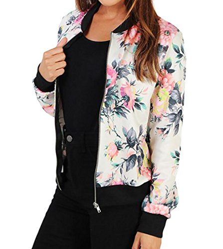 Jackets Fit Print Baseball Slim Varsity Womens Floral White MK988 aqC0p
