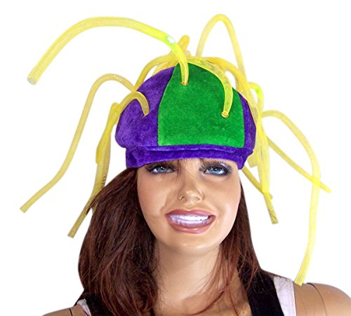 Flashing LED Light Up Mardi Gras Party Tentacle Skull Cap Hat ()
