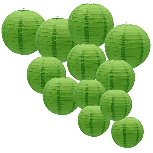 - KAXIXI Green Paper Round Lantern, Paper Lanterns Lamp for Birthday Bridal Wedding Baby Shower Christmas Festival Party Decoration, 12