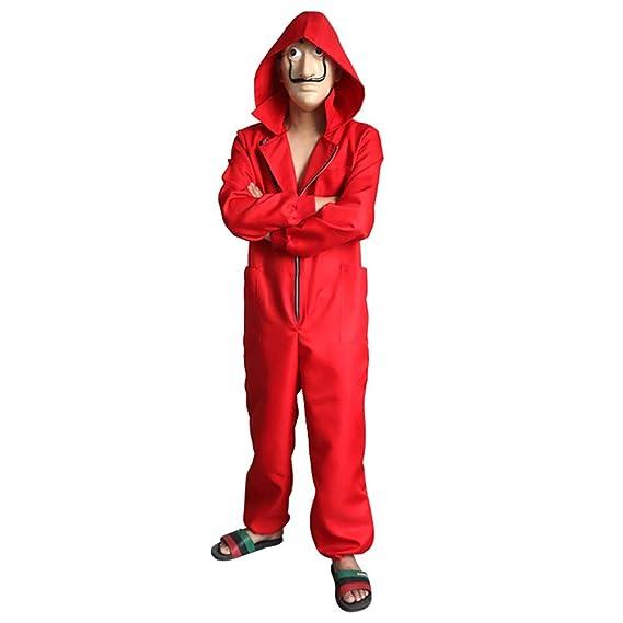 GDCB Disfraz Casa De Papel 2019 Unisex Movie Cosplay Red Disfraz de Halloween Monos con máscara de Dali