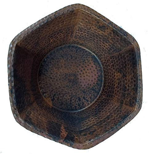 Egypt gift shops Distressed Shabby Chic Artistic Antique Finish Hexagon Hand Crafted Rustic Pure Copper Candy Fruits Pot Bowl Garden Yard Outdoors Indoors Flowers Planter Center (Garden Fruit Bowl)