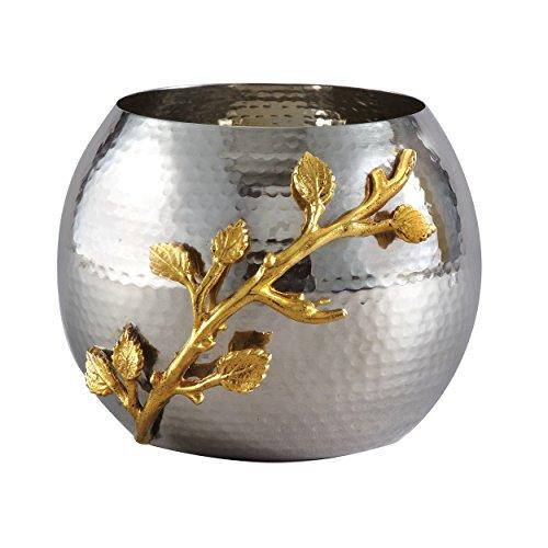 Elegance Golden Vine Hammered Pot, Silver/Gold by Elegance