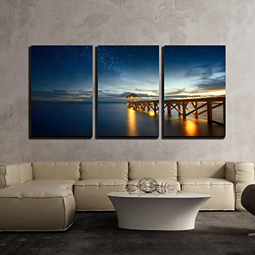 Seascape with Stars in The Sky Wall Decor x3 Panels