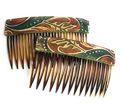 Rustic Boho Brown Vine Leather Hair Comb - Set of 2 Hair Accessory, Gift For Her, Gift Idea for Women with Long Hair by BANDANA GIRL