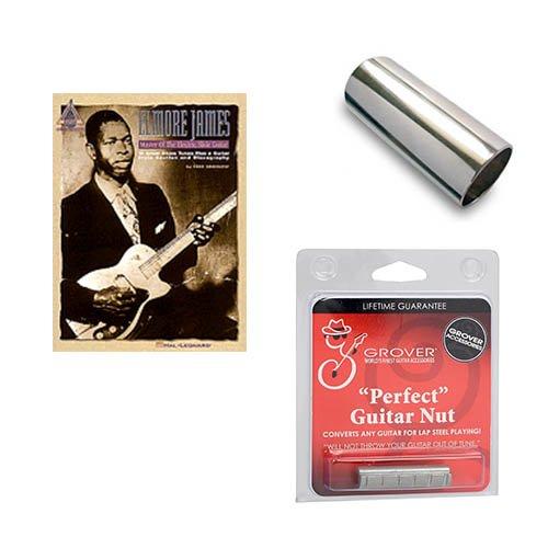 Guitar to Slide Guitar Conversion Pack - Nut Conversion, Aluminum Guitar Slide & Elmore James – Master of the Electric Slide Guitar Book by Slide Guitar Conversion Kits