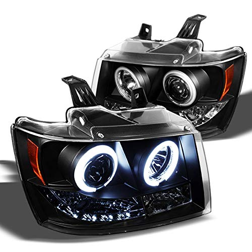 Xtune Twin CCFL Halo LED 2007-2014 Chevy Tahoe Avalanche Projector Headlights Pair Left+Right 2008 2009 2010 2011 2012 2013