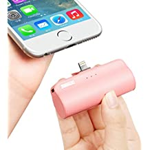 iWALK Portable Charger with Built in Plug, 3300mAh Ultra-Compact Power Bank External Battery Pack Charger Compatible with iPhone 5 6 7 8 Plus X SE XS, iPad, Pink