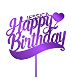 P Lab Personalized Happy Birthday Baloon Custom Name Birthday Cake Topper Acrylic Decoration for Special Event Purple Mirror