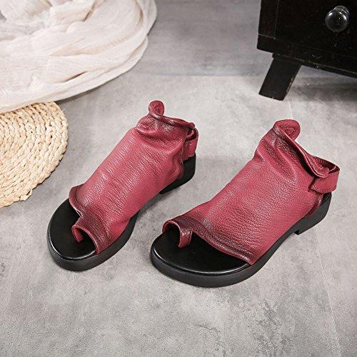 Planas De Mujer De Style Sandalias wine Shoes 113 HUIGU Sandalias Prima 3 Velcro Creativo Mejorar KJJDE Toe Clip Moda Transpirable Minority qzEdq
