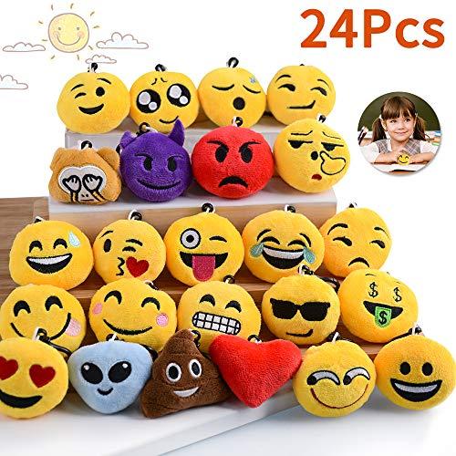 HUFUN Emoji Keychain No Repeated Emoji Party Supplies Fun Birthday Emoji Party Favors for Kids Goody Bag Stuffers Set of 24