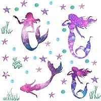 Easu Mermaid Wall Decals Girls Nursery Bedroom Wall Sticker Girls Wall Decals Mermaids Decorative Peel & Stick Wall Decals