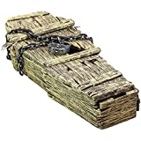 Halloween Haunters Life Size Realistic Foam Wood Coffin with Lock and Chains Prop Decoration - Aged Skeleton Hands, Grave Corpse, Death, Tombstone, Haunted House