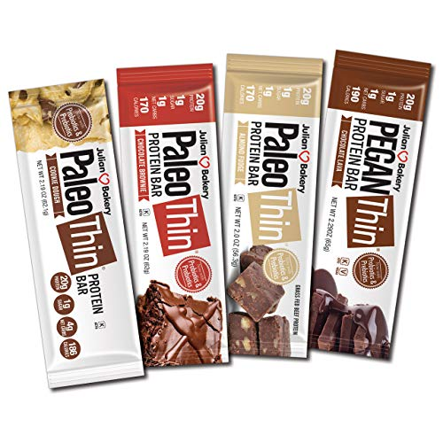 Paleo Thin® Protein Bar (Chocolate Lovers Variety)(20g Protein)(from 1 Net Carb 1g Sugar)(Dairy-Free : Soy-Free : Gluten-Free) 12 Bars