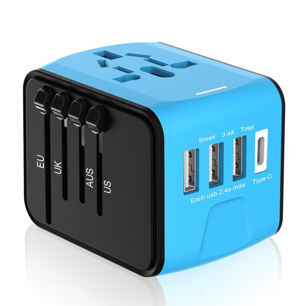 Universal Travel Adapter, International Travel Adapter Worldwide European Adapter Plug, UK Power Adapter, All in One International Power Adapter with 3.4A 3 USB & 1 USB-C for Over 170 Countries