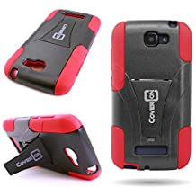 One Touch Fierce 2 Case, CoverON® for Alcatel One Touch Fierce 2 / Pop Icon A564c Hybrid Kickstand Case [Dual Defense] Hard Heavy Duty Protective Shockproof Phone Cover - Black / Red