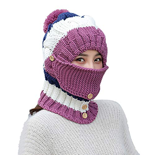 7dbe4eb62ea95 Clrarence Hat Adult Women Men Winter Earmuffs Knit Hat Mask Scarf Hairball  Warm Cap