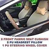 5A80503 Tan - Fabric 2 Front Car Seat Cover Cushions + 2 PU Headrest Pillow + 1 PU Steering Wheel Cover, Non-slip, Compatible to HYUNDAI ACCENT AZERA TUCSON FUEL CELL 2018 2017 2016-2007