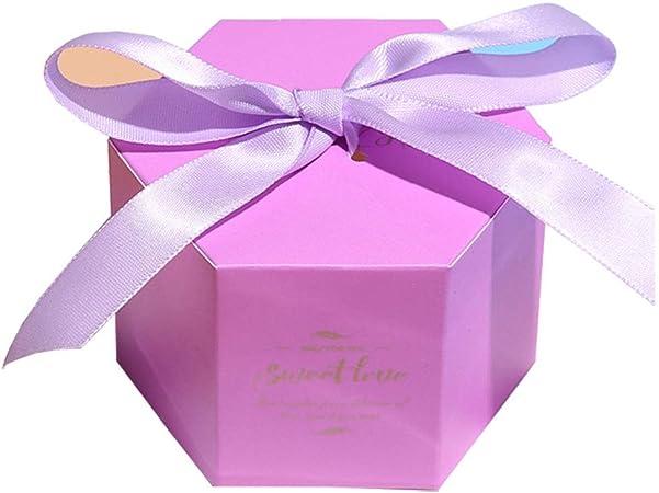 Zedo Cajitas para regalos Cajitas regalo boda Caja de boda Caja de caramelos cajas de carton cajas de carton para regalo Caja de Dulces Para fiesta de boda 7*7*5.5cm,10PC,estrella hexagonal,Morado: Amazon.es: Hogar