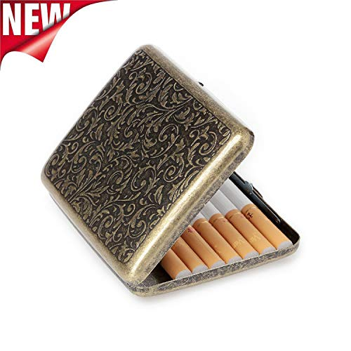 Retro Cigarettes Case Alloy Frosted Cigaret Box Double Sided Metal Cigarette Holder for 20 Regular Cigarettes (Gold Metal Cigarette Case)