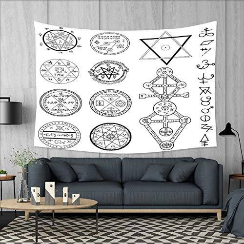 smallbeefly Occult Wall Hanging Tapestries Spiritual Set with Circular Pentagram Icons Hidden Knowledge of Cosmos Themed Print Large tablecloths 84