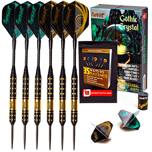 Dart Crystal - Ignat Games Steel Tip Darts - Professional Darts Set with Aluminum Shafts and Flights + Dart Sharpener + Innovative Case (18g Gothic Crystal)