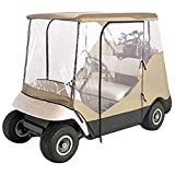 Golf Cart Rain Cover Enclosure Clear Vision (2 person, Beige)
