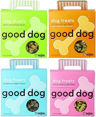 Sojos Good Dog Treats Mixed 8 oz x 4 packs – Apple Dumpling, Chicken Pot Pie, Blueberry Cobbler, and Peanut Butter & Jelly Flavors - Treats Good Dog Chicken