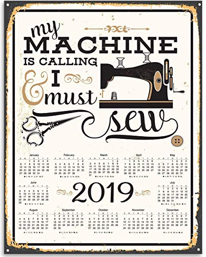 2019 Calendar - My Machine Is Calling And I Must Sew - 11x14 Unframed Calendar Art Print - Great Apparel/Accessories Manufacturer Office Decor/Sewing Factory Calendar -