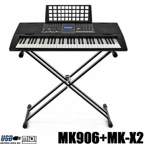 Teclado 61 teclas DynaSun MK906 LCD USB MIDI Respuesta Táctil, Keyboard E-Piano Electronico Digital Función Enseñanza Inteligente con Stand Soporte: ...
