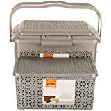 Jaypee Plus 2 Piece Plastic Baskets with Lid, 23 Liters, Silver