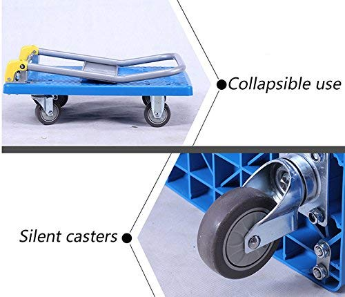 Zehaer Portable Trolley, ZGL Trolley Multifunction Silent Flatbed Truck 4 Rounds Trolley Handling Trolley Pull Goods Trailer Light Trolley Hand Car (Size : S) (Size : Large) by Zehaer (Image #7)