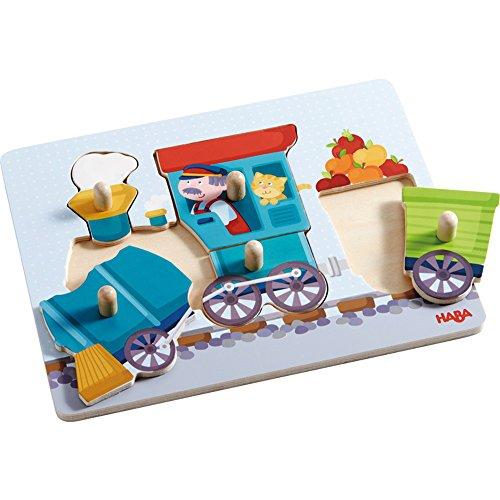 Haba 302537 - Clutching puzzle Train - 6 pieces children's wooden jigsaw puzzle by Haba (Haba Jigsaw Puzzles)