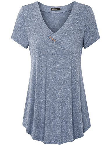 Vinmatto Women's Short Sleeve V Neck Flowy Tunic Top(3XL,Grey Blue)