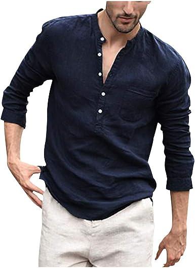 LEEDY Camisa de Manga Larga para Hombre con Bolsillo Formal Slim Fit para Hombre, Estilo Vintage, Color Puro, con Botones, de Lino, Lisa, de Manga Larga, Estilo Retro, Blusa: Amazon.es: Ropa y