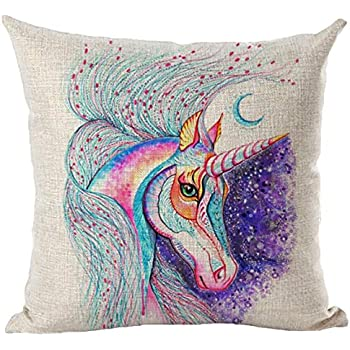8f631659f9098 PJL-brotherhood Unicorn Throw Pillow Cover Oil Painting Unicorn Pillowcase  Suitable for Home Living Room Bedroom Decoration Car Interior Design Office  ...