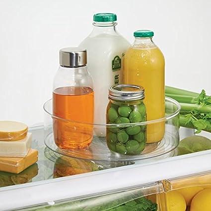 mDesign Lazy Susan plato giratorio - El práctico organizador de cocina para frigorífico, armario o incluso funciona como especiero - Color: transparente: ...