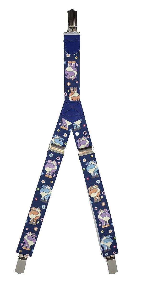 Patterned Kids Clip Suspenders Blue Cows