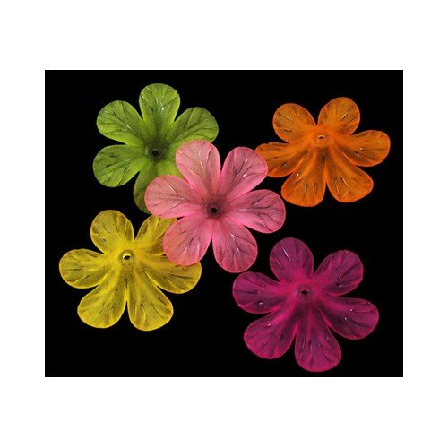 Packet 20 x Mixed Lucite 8 x 33mm Flower Beads HA26975 (Charming Beads) ()