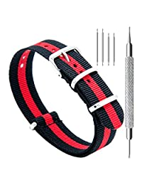 CIVO Watch Bands NATO Premium Ballistic Nylon Watch Strap Stainless Steel Buckle 18mm 20mm 22mm with Top Spring Bar Tool and 4 Spring Bars Bonus (Black/Crimson, 22mm)
