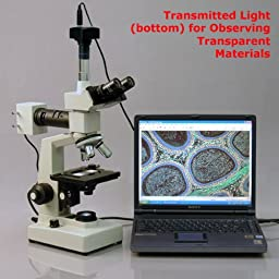 AmScope ME300TZ-2L-9M Digital Episcopic and Diascopic Trinocular Metallurgical Microscope, WF10x, 40X-1000X Magnification, Halogen Illumination with Rheostat, Double-Layer Mechanical Stage, Sliding Head, High-Resolution Optics, Includes 9MP Camera with Re