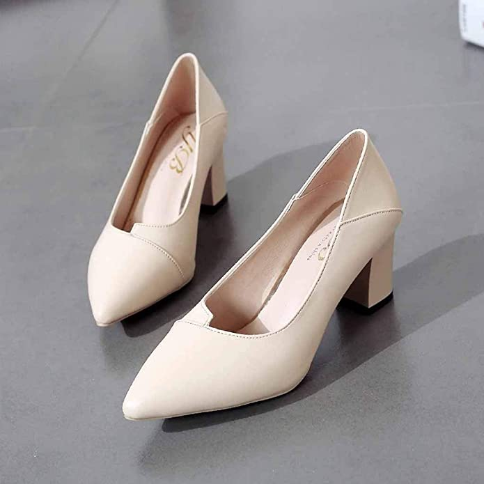 Huazi2 Womens Thick with High Heel Pointed Shoes Ladies Single Business Shoes