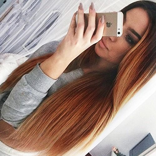 Price comparison product image AISI HAIR Long Ombre Wig Straight Synthetic Women's Wigs Heat Resistant Hair Dark Root Two Tone Brown Wig