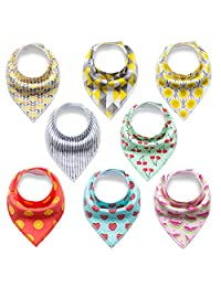 Baby bandana drool bibs for drooling and teething,soft and most absorbent baby bibs keep clothes clean,100% organic cotton,unsex 8 pack cute baby bibs gift set