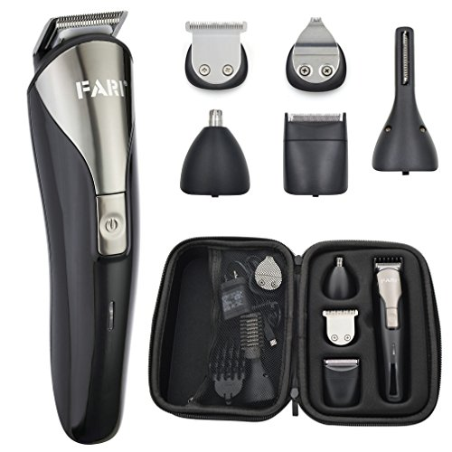 - FARIONE Beard Trimmer Kit for Men, Cordless Mustache Trimmer Hair Trimmer Body Grommer Clippers, EVA Hard Travel Case Included