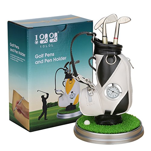Mini desktop golf bag pen holder with golf pens clock 6-piece set of golf souvenir Tour souvenir novelty gift (black and white)
