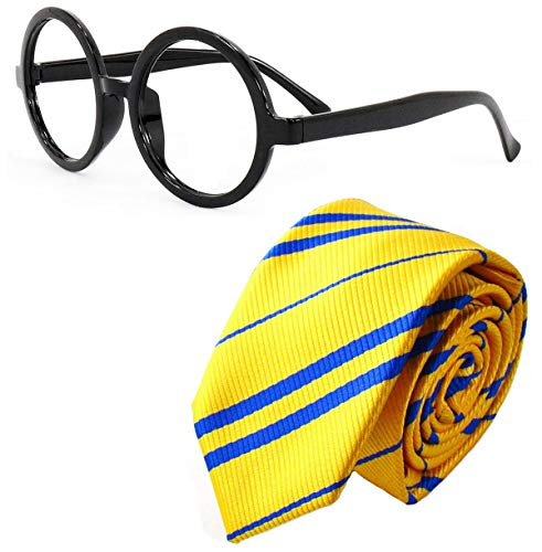 Sawaruita Striped Tie with Novelty Glasses Frame, for School \Christmas\ Cosplay Costumes Accessories, Suit Kids Teens、Women and Men (Yellow)