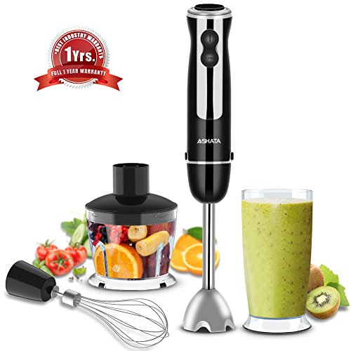 Hand Blender,4 in 1 Immersion Blender with Food Processor,BPA-Free Beaker,Stainless Steel Whisk Attachments, Food Chopper, 6-Speed Control Hand Immersion Blender for Baby Food,Shakes,Smoothies