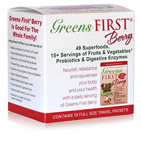 Greens First Berry - 15 Count Travel Packets - 49 Superfoods, 15+ Servings of Fruits & Vegetables, Probiotics & Digestive Enzymes
