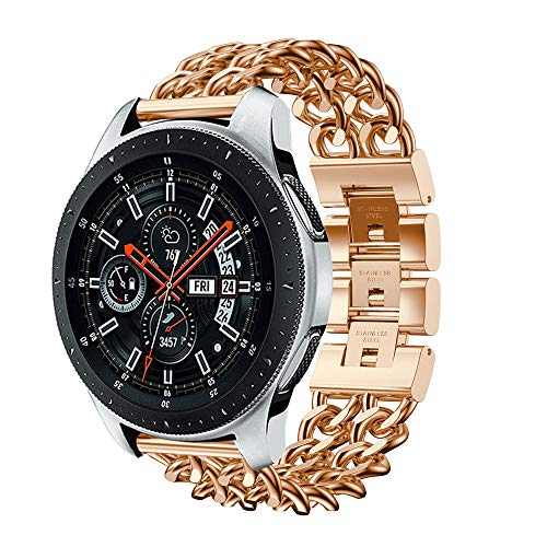 - NXDA Compatible For Samsung Galaxy Watch,Luxury Metal Crystal Diamond-encrusted Watch Strap Wrist Band 46mm (Rose Gold)